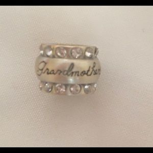 Grandmother Charm, round w/rhinestones